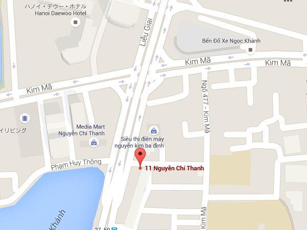 ハノイのストリート寿司の地図