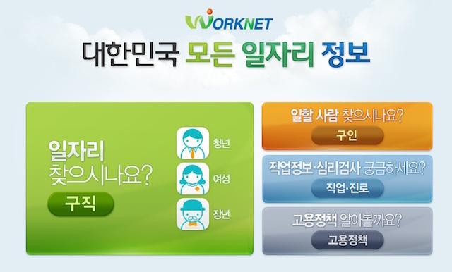 韓国の求人サイト「ワークネット」