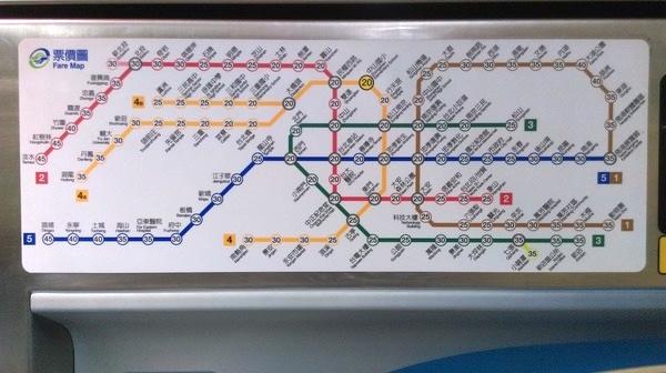 台北のMRTの路線図