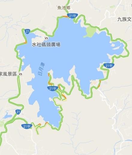 台湾の日月潭の地図
