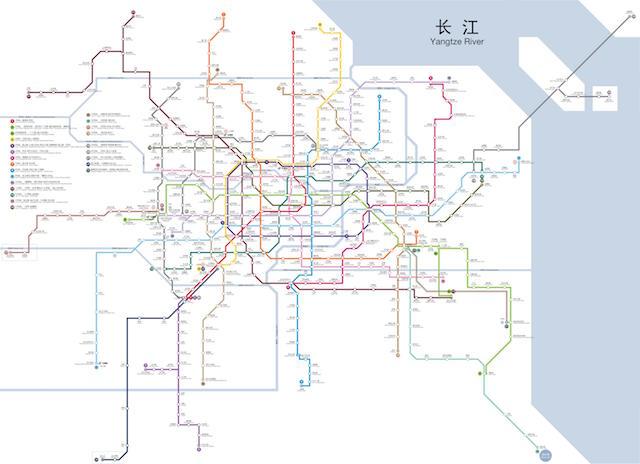 上海の地下鉄の地図