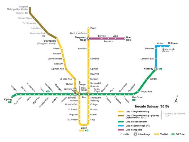 トロント空港からのTTCの路線と運行時刻