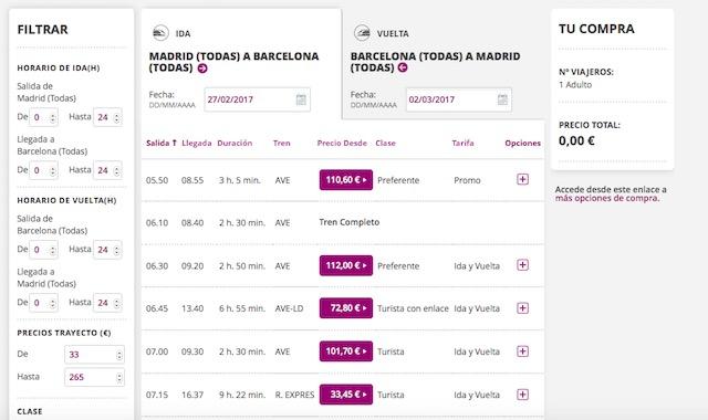 RENFEのホームページ