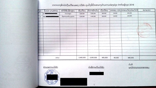 ラオスの税務資料