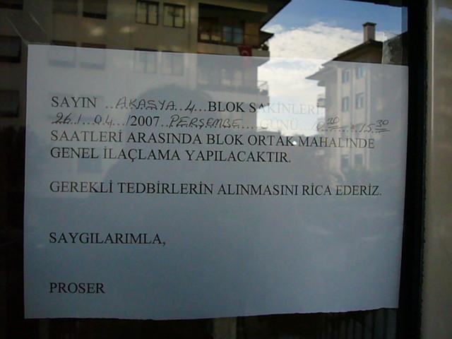トルコの注意書き