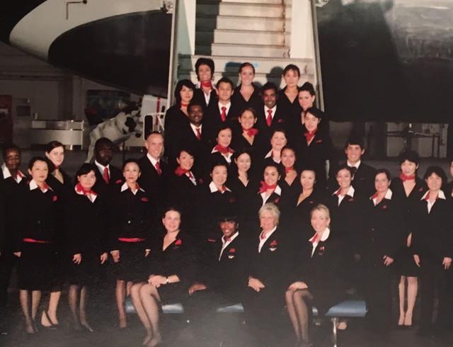 航空会社の同僚との写真