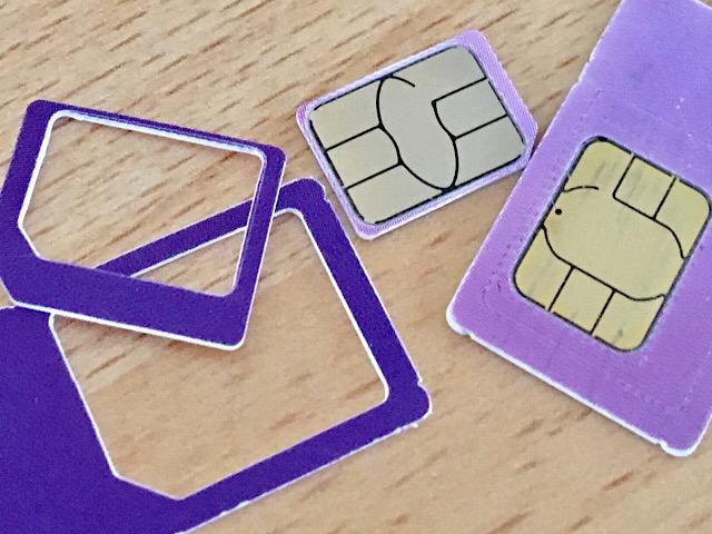 使用後のSIMカード