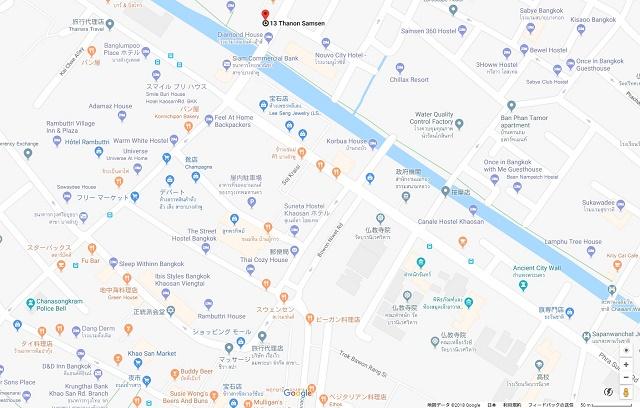 カオサンエリアの居酒屋のマップ