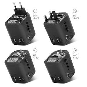 海外変換プラグ 旅行充電器 TYPE-C充電器 4USBポート付 マルチコンセント
