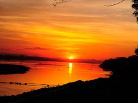 メコン河に沈む夕日は一見の価値あり!の美しい風景