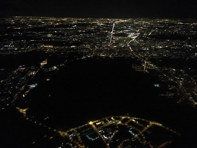 飛行機から見る夜景