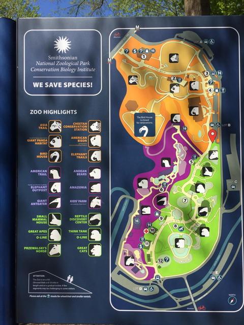 スミソニアン国立動物園の全体マップ