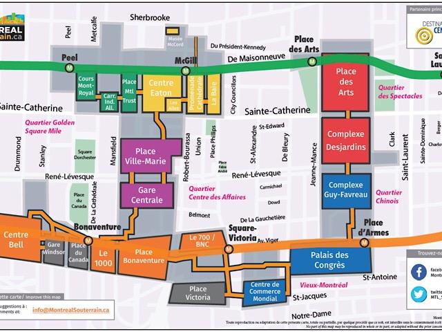 モントリオール地下街マップ