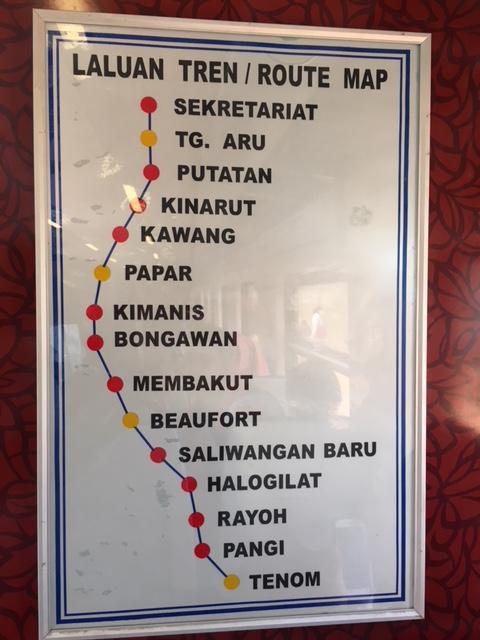 サバ州立鉄道のルートマップ