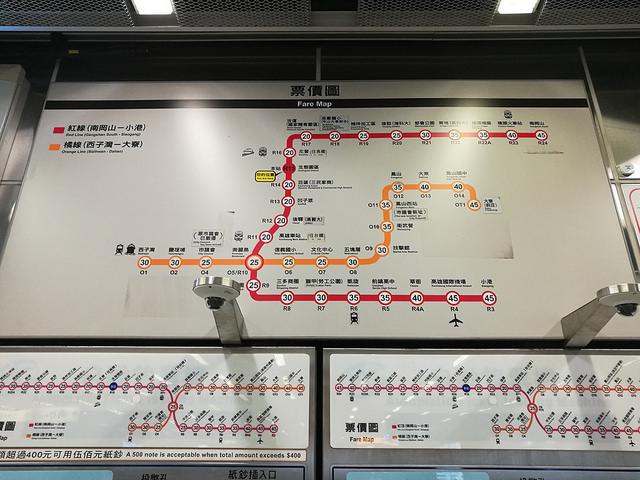 高雄の地下鉄の路線図