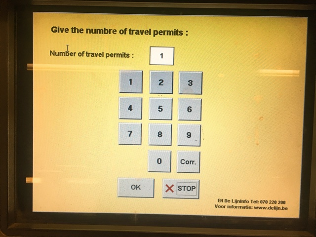 券売機のスクリーン